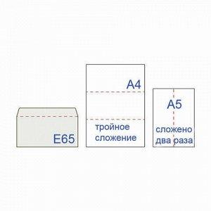 Конверты Е65 (110х220 мм), отрывная лента, внутренняя запечатка, КОМПЛЕКТ 100 шт., BRAUBERG, 112193, DLНКРс(BRAUBERG