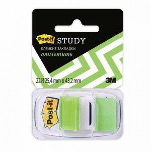 Закладки клейкие POST-IT Study, пластиковые, 25 мм, 22 шт., зеленые, 680-BG-LRU