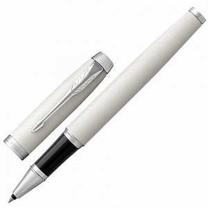 "Ручка-роллер PARKER ""IM Core White Lacquer CT"", корпус белый глянцевый лак, хромированные детали, черная, 1931674"