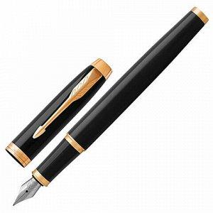 """Ручка перьевая PARKER """"IM Core Black Lacquer GT"""", корпус черный глянцевый лак, позолоченные детали, синяя, 1931645"""