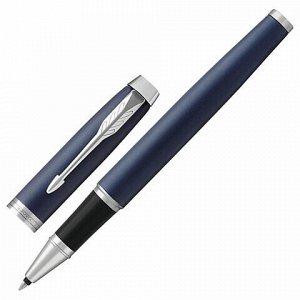 """Ручка-роллер PARKER """"IM Core Matte Blue CT"""", корпус темно-синий лак, хромированные детали, черная, 1931661"""