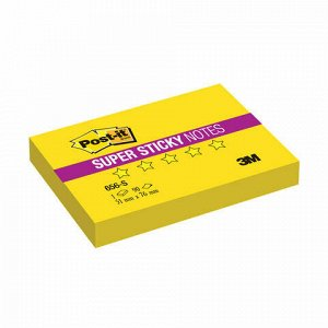 Блок самоклеящийся (стикер) POST-IT Super Sticky, 51х76 мм, 90 л., неоновый желтый, 656-S