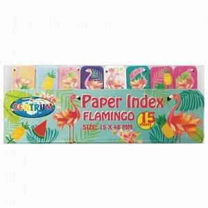 """Закладки клейкие CENTRUM """"Flamingo"""" бумажные, 50x15 мм, 8 цветов х 15 листов, 80453"""