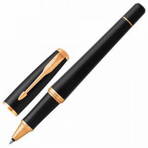 """Ручка-роллер PARKER """"Urban Core Muted Black GT"""", корпус черный матовый лак, позолоченные детали, черная, 1931584"""