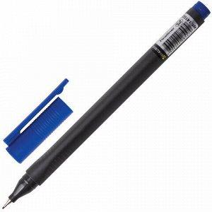 """Ручка капиллярная (линер) BRAUBERG """"Carbon"""", СИНЯЯ, металлический наконечник, трехгранная, линия письма 0,4 мм, 141522"""