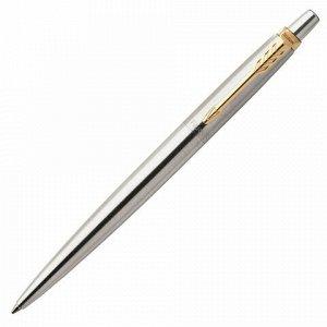 """Ручка гелевая PARKER """"Jotter Stainless Steel GT"""", корпус серебристый, позолоченные детали, черная, 2020647"""