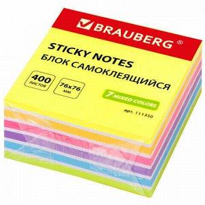 Блок самоклеящийся (стикеры) BRAUBERG НЕОНОВЫЙ 76х76 мм, 400 листов, 7 цветов, 111350
