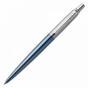 """Ручка гелевая PARKER """"Jotter Waterloo Blue CT"""", корпус голубой, детали из нержавеющей стали, черная, 2020650"""