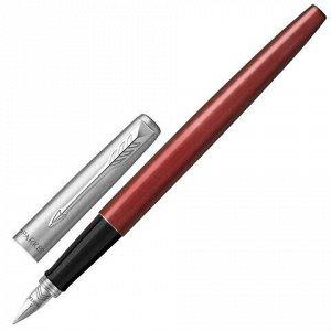 """Ручка перьевая PARKER """"Jotter Kensington Red CT"""", корпус красный, детали из нержавеющей стали, синяя, 2030949"""
