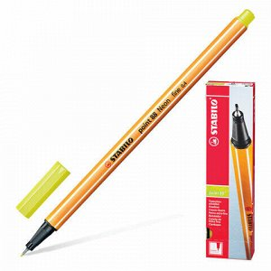 """Ручка капиллярная (линер) STABILO """"Point 88"""", НЕНОВАЯ ЖЕЛТАЯ, корпус оранжевый, линия письма 0,4 мм, 88/024"""