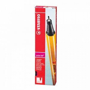 """Ручка капиллярная (линер) STABILO """"Point 88"""", НЕОНОВАЯ РОЗОВАЯ, корпус оранжевый, линия письма 0,4 мм, 88/056"""