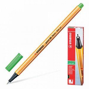 """Ручка капиллярная (линер) STABILO """"Point 88"""", ЦВЕТ ЛИСТВЫ, корпус оранжевый, линия письма 0,4 мм, 88/43"""