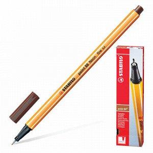 """Ручка капиллярная (линер) STABILO """"Point 88"""", КОРИЧНЕВАЯ, корпус оранжевый, линия письма 0,4 мм, 88/45"""