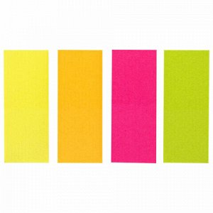 Закладки клейкие BRAUBERG НЕОНОВЫЕ бумажные, 50х20 мм, 4 цвета х 50 листов, 111363