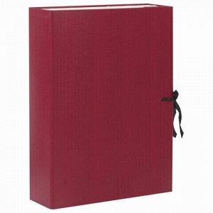 Короб архивный А4 (240х330 мм), 70 мм, 2 завязки, бумвинил, до 600 листов, бордовый, BRAUBERG, 122036