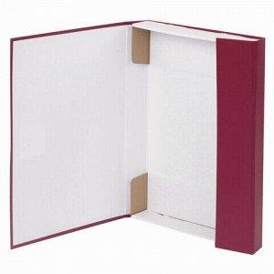 Короб архивный А4 (240х330 мм), 35 мм, 2 завязки, бумвинил, до 300 листов, бордовый, BRAUBERG, 122037