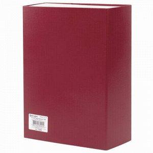 Короб архивный А4 (240х330 мм), 100 мм, 2 завязки, бумвинил, до 900 листов, бордовый, BRAUBERG, 122805