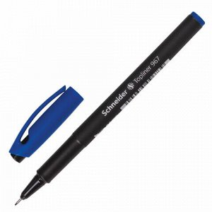 """Ручка капиллярная (линер) SCHNEIDER (Германия) """"Topliner 967"""", СИНЯЯ, черный корпус, линия письма 0,4 мм, 9673"""