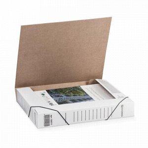 Папка архивная с резинкой А4 (325х250 мм), 45 мм, до 400 листов, плотная, микрогофрокартон, БЕЛАЯ, BRAUBERG, 126511