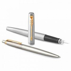 """Набор PARKER """"Jotter Stainless Steel GT"""": шариковая ручка синяя и перьевая ручка, 2093257"""