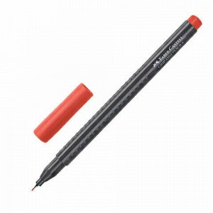 """Ручка капиллярная (линер) FABER-CASTELL """"Grip Finepen"""", КРАСНАЯ, трехгранная, корпус черный, 0,4 мм, 151621"""