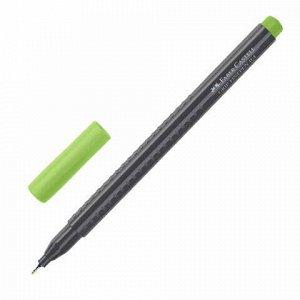 """Ручка капиллярная (линер) FABER-CASTELL """"Grip Finepen"""", СВЕТЛО-ЗЕЛЕНАЯ, трехгранная, корпус черный, 0,4 мм, 151666"""