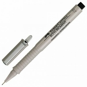 """Ручка капиллярная (линер) FABER-CASTELL """"Ecco Pigment"""", ЧЕРНАЯ, корпус серый, линия письма 0,7 мм, 166799"""