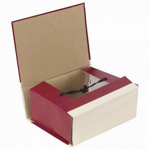 Папка для бумаг архивная А4 (225х310 мм), 120 мм, 4 завязки, бумвинил, корешок - коленкор, 123201