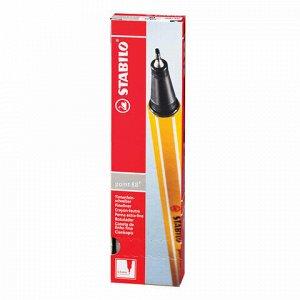 """Ручка капиллярная (линер) STABILO """"Point 88"""", СВЕТЛО-СЕРАЯ, корпус оранжевый, линия письма 0,4 мм, 88/94"""
