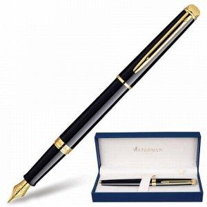 """Ручка подарочная перьевая WATERMAN """"Hemisphere Mars Black GT"""", черный лак, позолоченные детали, синяя, S0920610"""