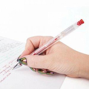 "Ручка гелевая BRAUBERG ""Jet"", КРАСНАЯ, корпус прозрачный, узел 0,5 мм, линия письма 0,35 мм, 141020"