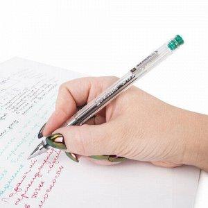 """Ручка гелевая BRAUBERG """"Jet"""", ЗЕЛЕНАЯ, корпус прозрачный, узел 0,5 мм, линия письма 0,35 мм, 141021"""