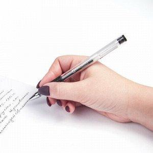 "Ручка гелевая с грипом BRAUBERG ""Number One"", ЧЕРНАЯ, узел 0,5 мм, линия письма 0,35 мм, 141194"