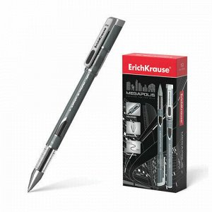 "Ручка гелевая ERICH KRAUSE ""Megapolis Gel"", ЧЕРНАЯ, корпус с печатью, узел 0,5 мм, линия письма 0,4 мм, 93"