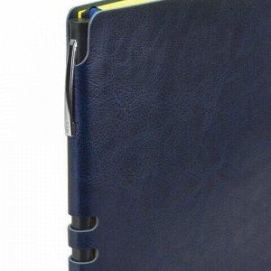 "Блокнот А5 (140x200 мм), BRAUBERG ""NEBRASKA"", 112 л., гибкий, под кожу, ручка, линия, темно-синий, 110949"