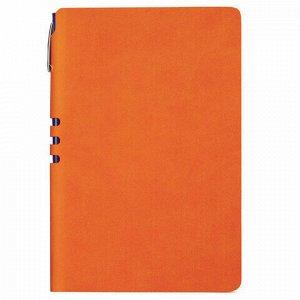 "Блокнот А5 (140x200 мм), BRAUBERG ""NEBRASKA"", 112 л., гибкий, под кожу, ручка, линия, оранжевый, 110951"