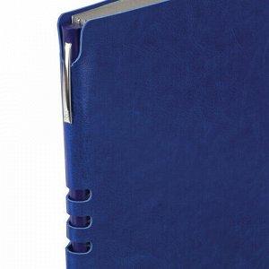 """Тетрадь А5 (175x215 мм), BRAUBERG """"NEBRASKA"""", 120 л., гибкая, под кожу, ручка, клетка, синий, 110953"""