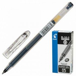 """Ручка гелевая PILOT """"Super Gel"""", ЧЕРНАЯ, корпус прозрачный, узел 0,5 мм, линия письма 0,3 мм, BL-SG-5"""