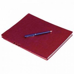 """Тетрадь А5 (175x215 мм), BRAUBERG """"NEBRASKA"""", 120 л., гибкая, под кожу, ручка, клетка, бордовый, 110955"""