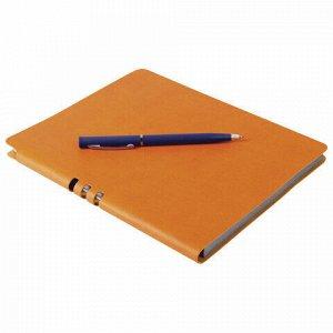 """Тетрадь А5 (175x215 мм), BRAUBERG """"NEBRASKA"""", 120 л., гибкая, под кожу, ручка, клетка, оранжевый, 110956"""