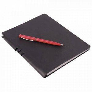 """Тетрадь А5 (175x215 мм), BRAUBERG """"NEBRASKA"""", 120 л., гибкая, под кожу, ручка, клетка, черный, 110957"""