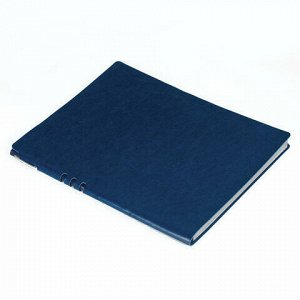 "Тетрадь БОЛЬШОЙ ФОРМАТ (220х265 мм) А4, BRAUBERG ""NEBRASKA"", 96 л., гибкая, под кожу, ручка, клетка, темно-синий, 110959"