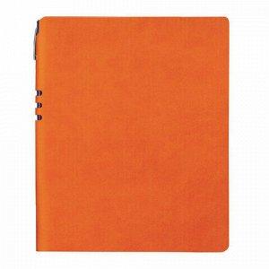 """Тетрадь БОЛЬШОЙ ФОРМАТ (220х265 мм) А4, BRAUBERG """"NEBRASKA"""", 96 л., гибкая, под кожу, ручка, клетка, оранжевый, 110961"""