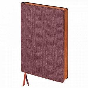 "Блокнот А5 (148x213 мм), BRAUBERG ""Tweed"", 112 л., гибкий, под ткань, линия, бордовый, 110963"