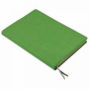 """Блокнот А5 (148x213 мм), BRAUBERG """"Tweed"""", 112 л., гибкий, под ткань, линия, темно-зеленый, 110964"""