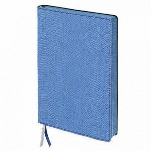 """Блокнот А5 (148x213 мм), BRAUBERG """"Tweed"""", 112 л., гибкий, под ткань, линия, синий, 110966"""