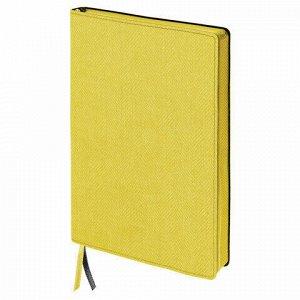"Блокнот А5 (148x213 мм), BRAUBERG ""Tweed"", 112 л., гибкий, под ткань, линия, желтый, 110967"