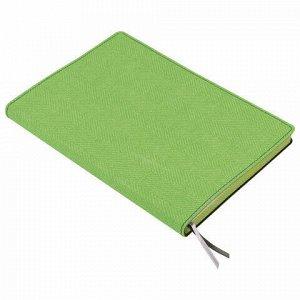 "Блокнот А5 (148х213 мм), BRAUBERG ""Tweed"", 112 л., гибкий, под ткань, линия, зеленый, 110968"