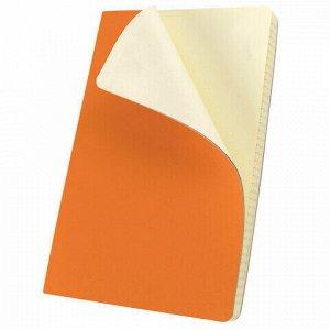 """Блокнот в клетку с резинкой А5 (148x218 мм), 80 л., под кожу оранжевый BRAUBERG """"Metropolis Ultra"""", 111019"""