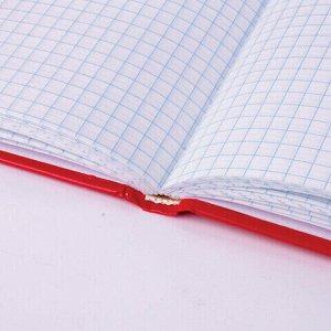 """Блокнот А5 (135х206 мм), 96 л., твердый переплет, ламинированная обложка, клетка, BRAUBERG, """"Contract red"""", 121928"""